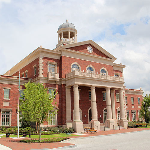Exterior photo of Alpharetta City Hall building
